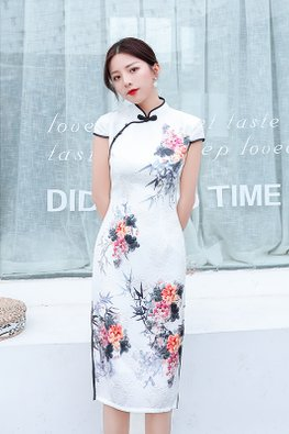 White Black Trimmings Cap Sleeves Floral Painting Cheongsam