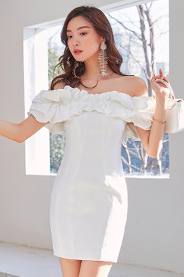 White Off-Shoulder Scrunchy Band Mini Sheath Dress