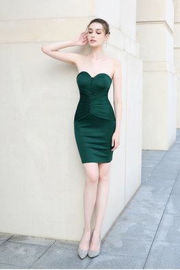 Green / Black Sweetheart Button Waist-Gather Mini Dress
