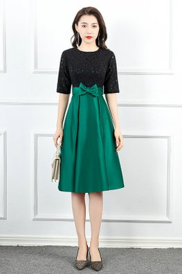 Black Green Round Neck Elbow Sleeves Ribbon Bow A-Line Dress