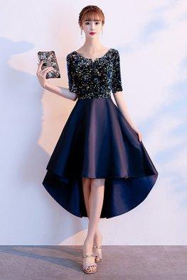 Dark Navy Blue Round Mini V-Neck Elbow Sleeves Hi-Lo Dress