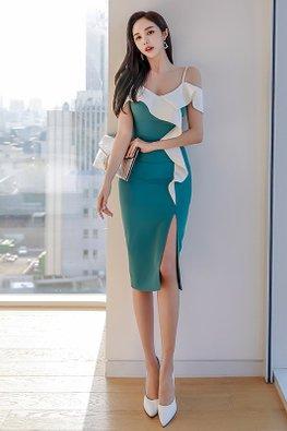 Green White V-Strap Ruffle-Side Front Slit Dress