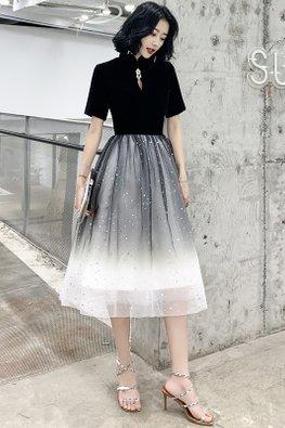 Black Mandarin Collar Jewel Keyhole Ombre Twinkle Dress
