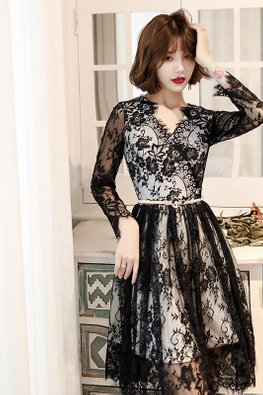 Black White V-Neck Long Sleeves Intricate Lace Dress