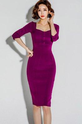 Reddish Purple Square-V-Neckline Back Slit Sheath Dress