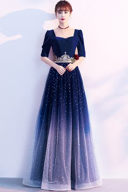 Navy Blue Sweetheart Elbow Sleeves Tiara Twinkle Ombre Gown