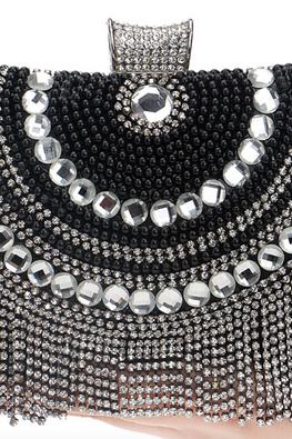Assorted Colours Rectangular Diamond-Pearl Tassels Clutch