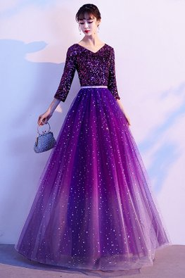 Purple V-Neck 3/4 Sleeves Sequins Twinkle Tulle Gown