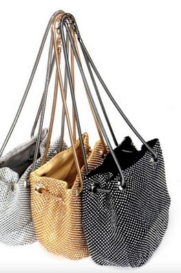 Assorted Colours Diamond-Studded Bucket Bag