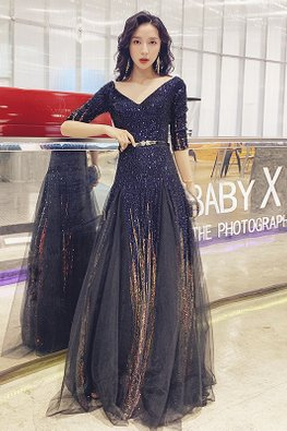 Dark Navy Blue Wide V-Neck Sequins Mesh Gown