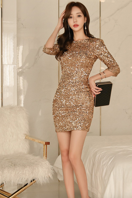 Gold Round Neck Low V-Back Mini Sequins Dress
