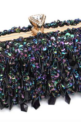 Colourful Black Diamond Knob Sequins & Gems Clutch