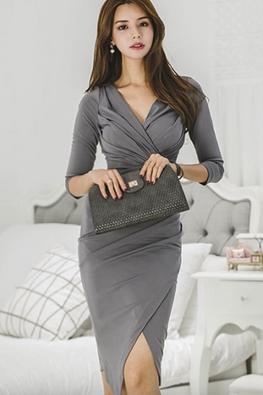 Dark Grey V-Wrap 3/4 Sleeves Sheath Dress