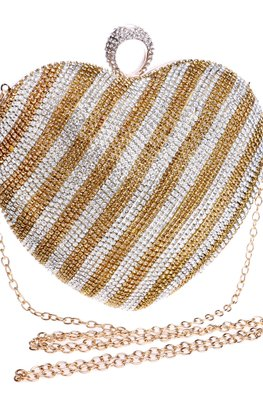 Gold Silver Striped Heart-Shaped Diamond Clutch